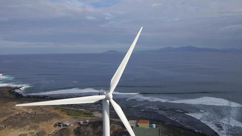AERIAL: Wind turbine Footage