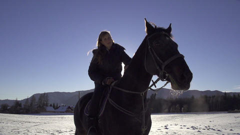 PORTRAIT: girl riding big black horse in winter Footage