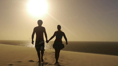 Couple at sunset Footage