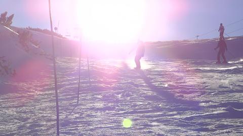 Snowboarder making snow spray Footage