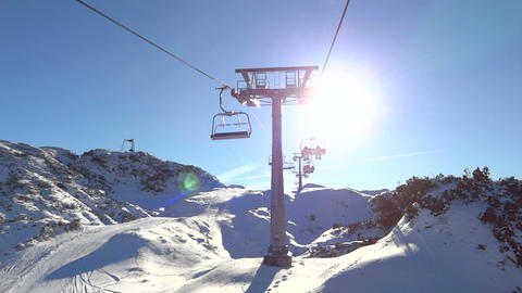 Riding a ski lift Footage