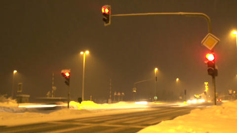 Highway crossroad in winter Footage