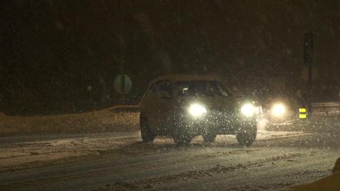 Traffic jam in blizzard Footage