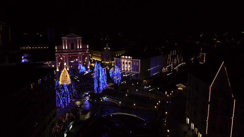 AERIAL: Christmas Lights Footage