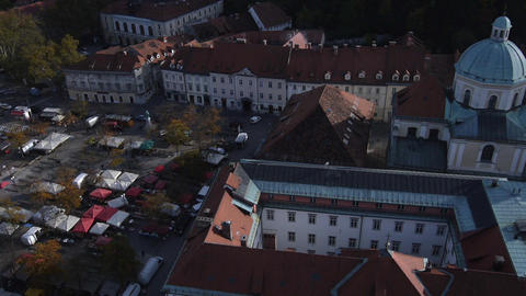 AERIAL: Central Market Place stock footage