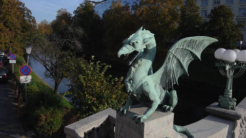 AERIAL: Dragon Sculpture On The Bridge stock footage