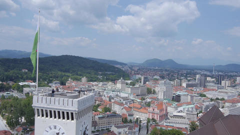 AERIAL: Castle above the big city Footage