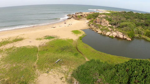 AERIAL: flight over the coast in Sri Lanka Footage