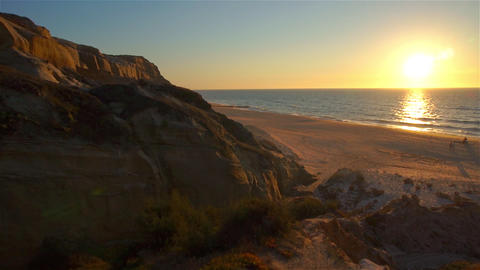 AERIAL: Seaside at sunset in Portugal Footage