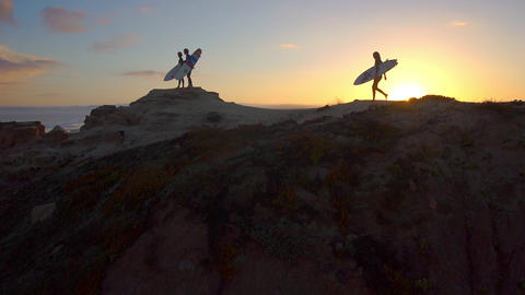 AERIAL: Surfers watching waves at sunset Footage