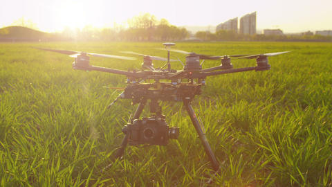 SLOW MOTION: RC Multicopter Starting Propellers stock footage