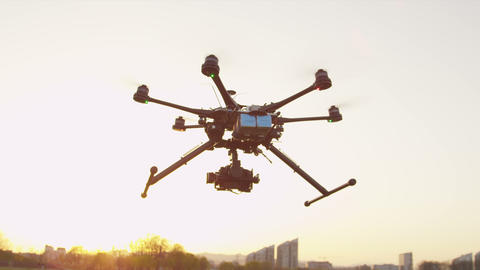 SLOW MOTION: Multicopter Folding Landing Gear stock footage