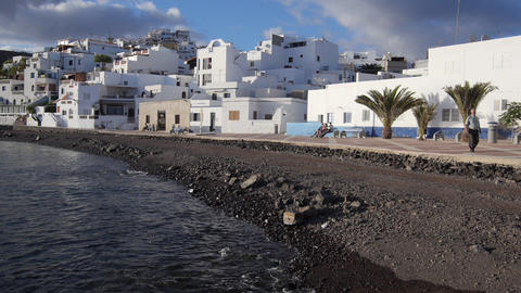AERIAL: Fishing village on Canary island Fuerteven Footage