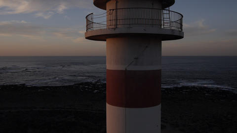 AERIAL: Flying Up The Lighthouse stock footage