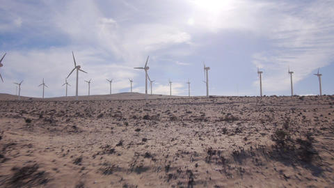 AERIAL: Wind Turbines In A Desert stock footage