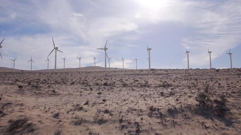AERIAL: Wind turbines in a desert Footage