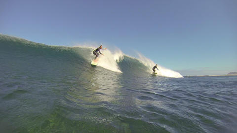 CLOSE UP: Female surfer riding wave in Canary Isla Footage