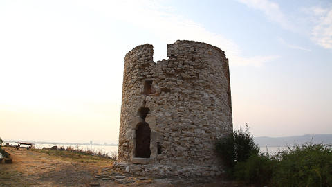 Ruins of old stone mill Nessebar, Bulgaria Footage