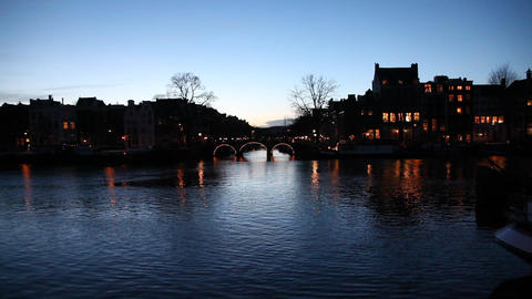 A Bridge In Amsterdam, Holland, Dawn, Dusk stock footage