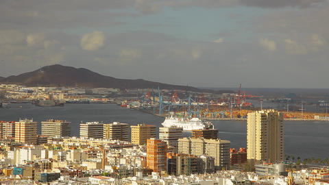 A boat enters Port of Las Palmas de Gran Canaria c Footage