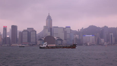 Boats pass in Hong Kong strait Footage