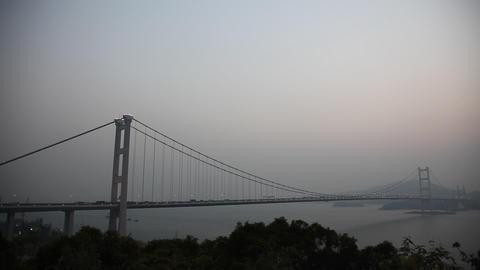 Tsing Ma Bridge in Hong Kong at sunset Footage