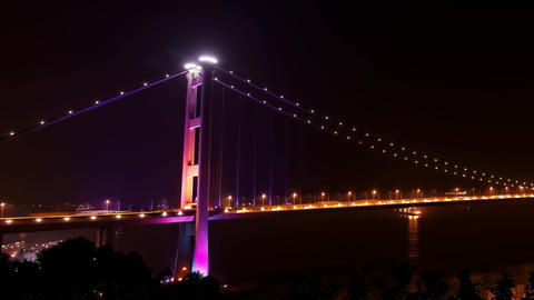 Tsing Ma Bridge in Hong Kong at night Footage