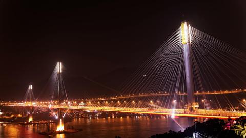 4K UHD Ting Kau Bridge in Hong Kong at night Footage