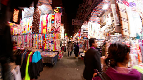 4K UHD Hong Kong colorful street night market time Footage