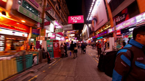 Mong Kok Hong Kong night time lapse Footage