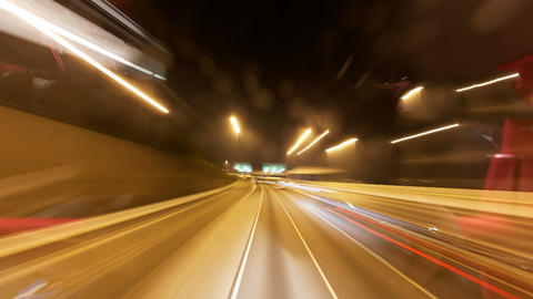 Driving at night in Hong Kong time lapse Footage