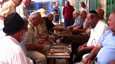 Senior Citizens Play Backgammon In Jerusalem stock footage