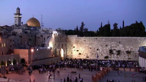 Western Wall and Dome of the Rock sunset time laps Footage