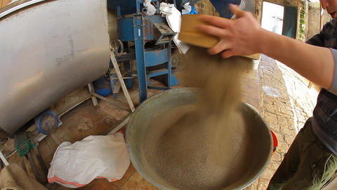 Spice straining in Galilee Mill El-Babour in Old C Live Action