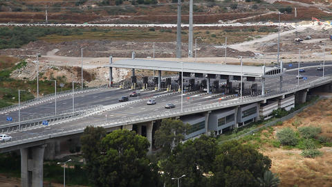 Toll booth Checkpost intersection Haifa Israel Footage