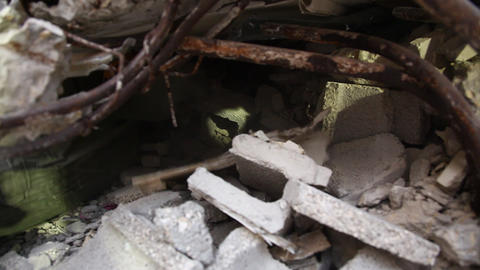 Soldier searches for earthquake casualties digging Footage