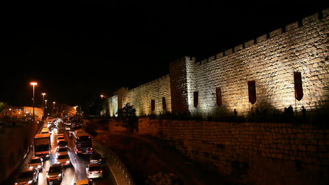 Walls of Jerusalem during rush our HD Footage