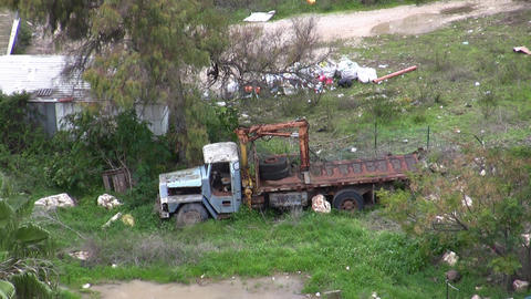 Abandoned old truck in poor neighborhood Footage