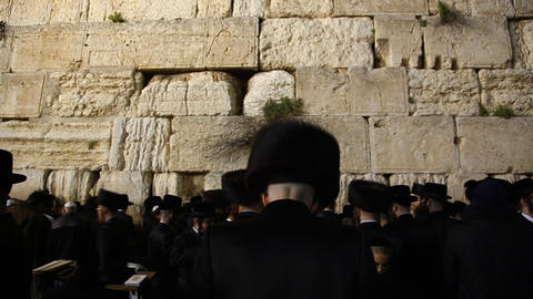Jews pray in the Western Wall in the night before  Footage