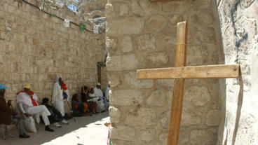 4K UHD Christian Pilgrims Visit Via Dolorosa Cross stock footage