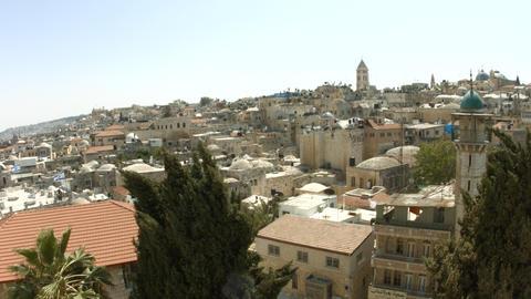 4K UHD Skyline of old city Jerusalem Footage