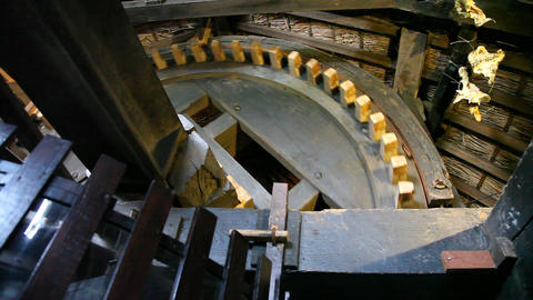 Inside mechanism of windmill in Holland Footage