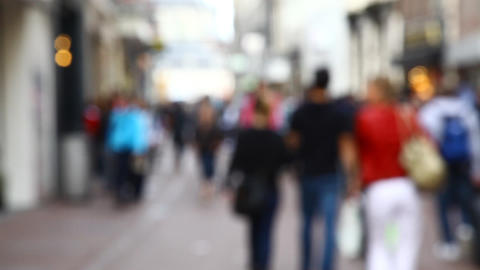 Blur Crowd Walking In The Street stock footage