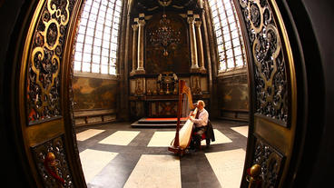 A Man Plays The Harp In St. Bavo's Cathedral In Ge stock footage