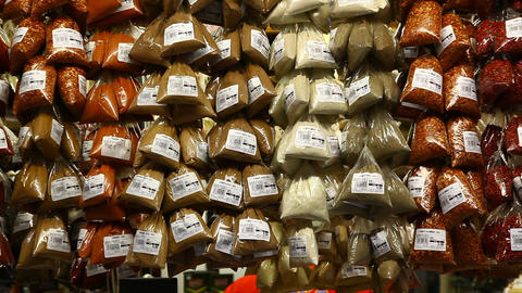 Spices at Sao Paulo Municipal Market Brazil FULL H Footage
