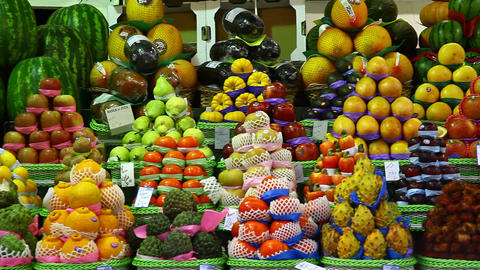 Choice of fresh tropical fruits offered in the mar Footage