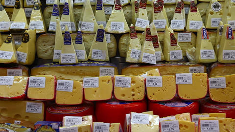 Choice Of Gourmet Cheese Offered In The Market FUL stock footage