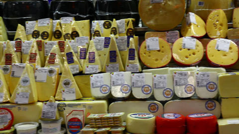 Choice of gourmet cheese offered in the market FUL Footage