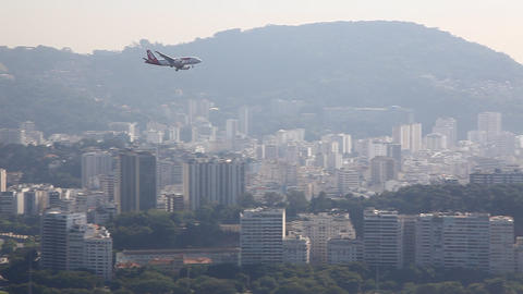 Airplane landing Rio de Janeiro Brazil Santos Durm Footage