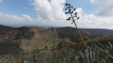 4K UHD La Caldera de Bandama in volcanic island Gr Footage
